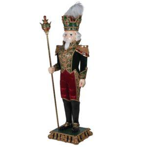 Christmas General - Large Gold & Green Standing Statue - Velvet Finish