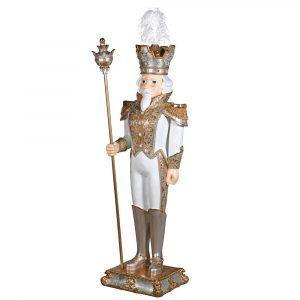 Christmas General - Large Gold & White Standing Statue - Embellished Finish
