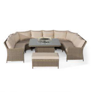 Garden Fire Pit Sofa Set - Fire Pit Coffee Table - Light Poly Weave