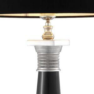 Table Lamp - Sculptured Black & Chrome Base - Black Velvet Shade