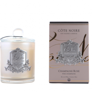 'Pink Champagne' Scented Candle - Cote Noire Black & Silver -100 Hours