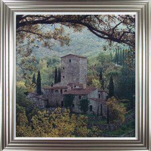 'Chianti Hills' Artwork - Silver Framed & White Slip Design - Rod Chase