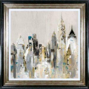'Gold Cityscape' Artwork - Black/Gold Frame - Varnished - Valeria Mravyan