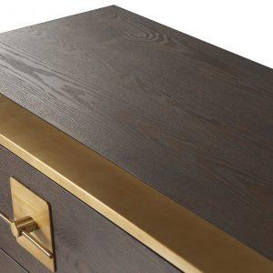 Chest Of Drawers - Brown Ash & Polished Brass Finish - 3 Drawer