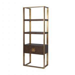 Shelving Unit - Brown Ash & Polished Brass Finish - 3 Shelves 1 Drawer