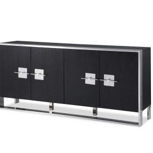 Sideboard - Black Ash & Polished Chrome Finish - 4 Door