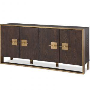 Sideboard - Brown Ash & Polished Brass Finish - 4 Door