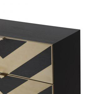 Chest Of Drawers - Black Ash Veneer - Brushed Brass Finish - 3 Drawers