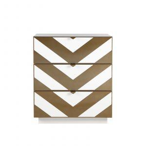 Chest Of Drawers - White Lacquered - Brushed Brass Finish - 3 Drawers