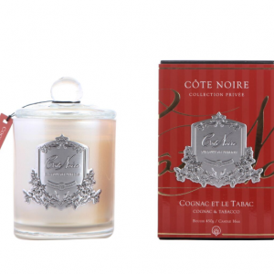 'Cognac & Tobacco' Scented Candle - Cote Noire Black & Silver Glass -100 Hours